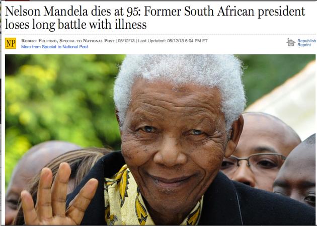 Nelson Mandela dies at 95 former South African president