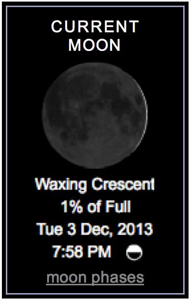 Current Moon Waxing Crescent after new moon calculator-dot-com