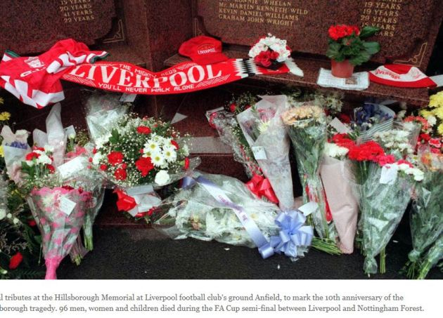 Flower tributes to victims of the Hillsborough football match stadium disaster in which 96 people died