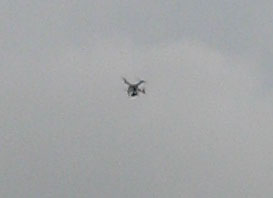 closeup shot of a drone that was executing very quick turns on all axis.