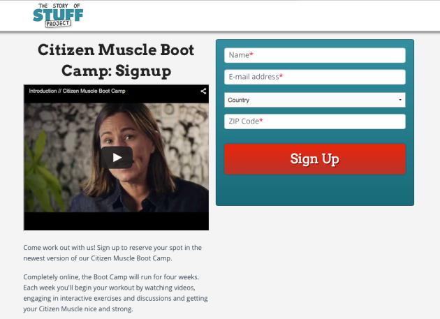 StoryofStuff, Citizen Muscle Bootcamp Signup
