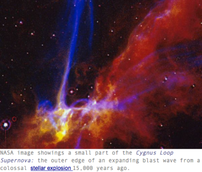 NASA image, Cygnus Loop, Supernova Stellar Explosion, 15,000 years ago