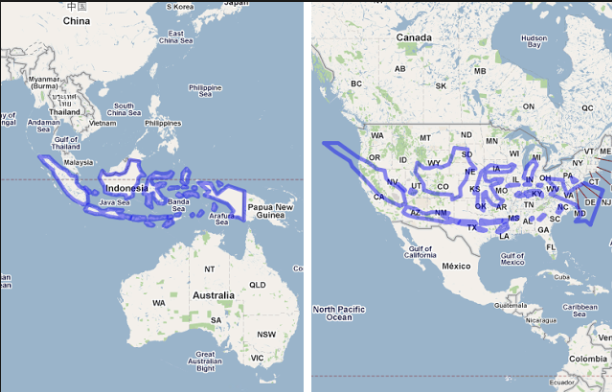 comparison of landmass of Indonesia to the USA , map frappe