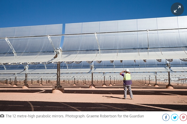 12 meter high parabolic mirrors in launch of mega solar project in Morocco