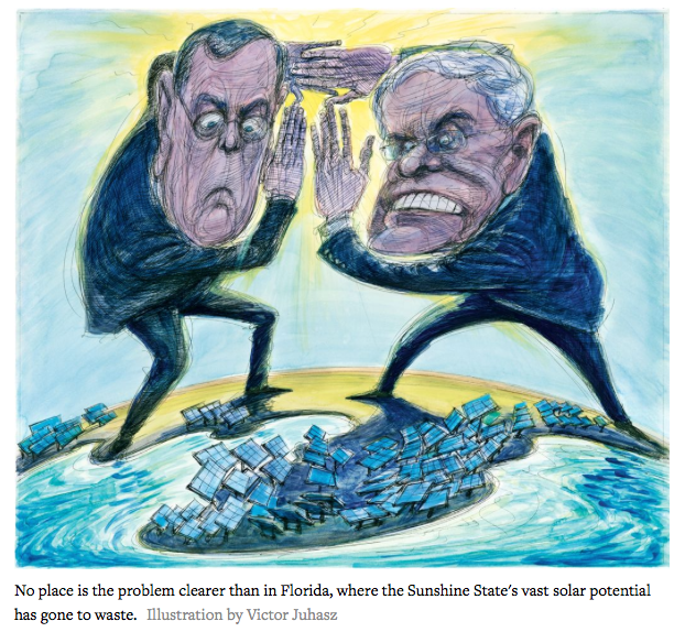 Illustration by Victor Juhasz the Koch Brothers' Dirty War on Solar Power