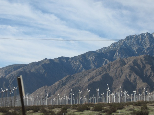 windmill farm, southern California desert, approaching Los Angeles