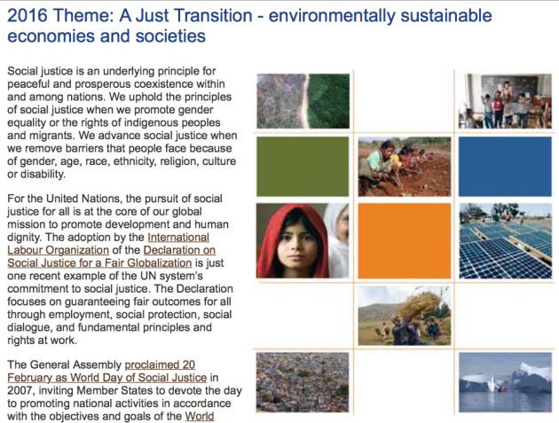UN, International Social Justice Day 2016 theme A Just Transition, environmentally sustainable economies