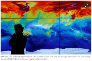 global, land,  sea, temperatures, 1.11C warmer, April 2016