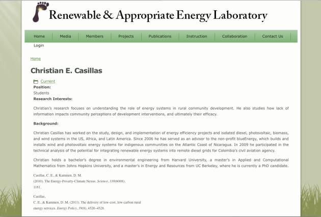 Christian Casillas, Renewable, Appropriate Energy Laboratory