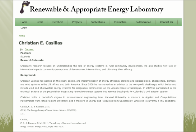 Christian Casillas, Renewable, Appropriate Energy Laboratory