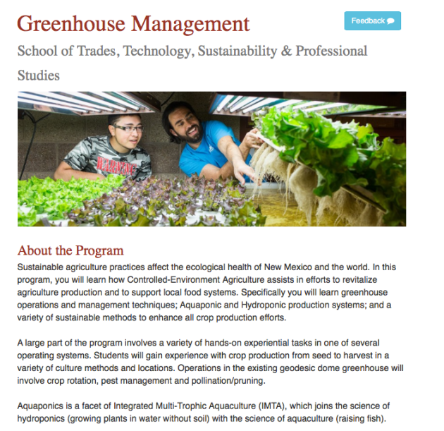 SFCC, Greenhouse Management, School of Trades, Technology, Sustainability