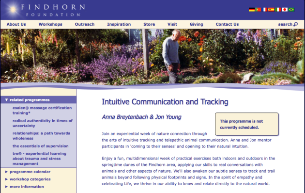 Findhorn Foundation, Intuitive Communicaiton and Tracking, Anna Breytenbach, Jon Young