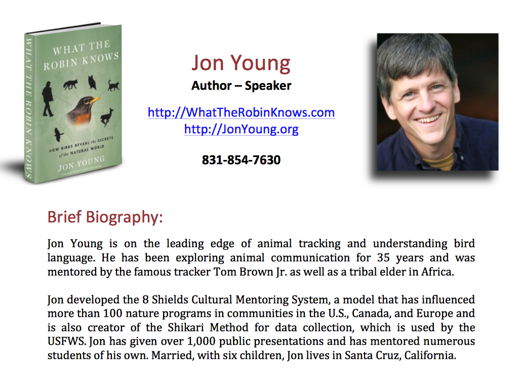 Jon Young, animal tracking, understanding bird language.