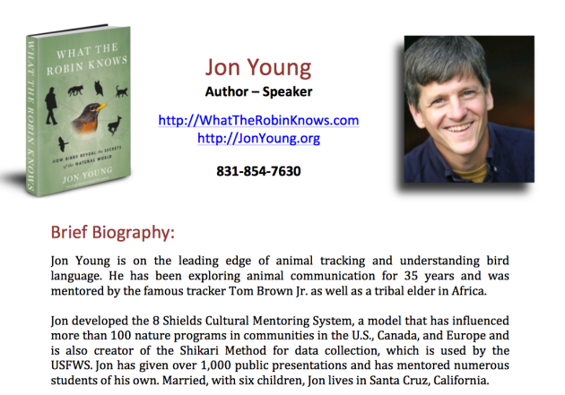 Jon Young, animal tracking, understanding bird language.