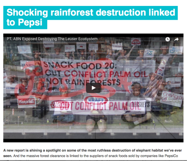 rainforest destruction linked to pepsi, pepsico, clearcutting, palm oil plantations