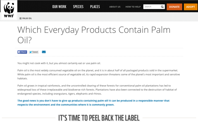 WWF World Wildlife Fund Which everyday products containing palm oil, Peel Back Label