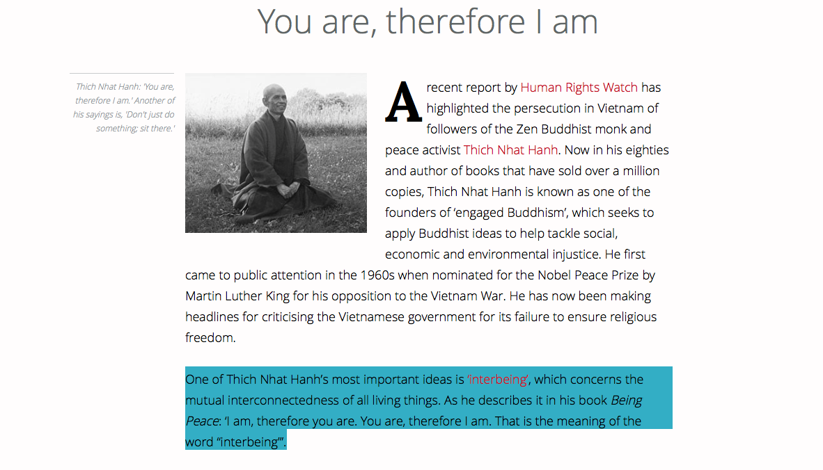 Th,ich Nhat Hanh Interbeing, Interconnectedness of all living things, Roman Krznaric