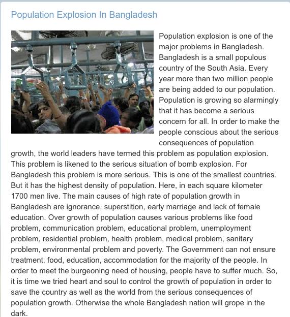 population explosion Bangladesh