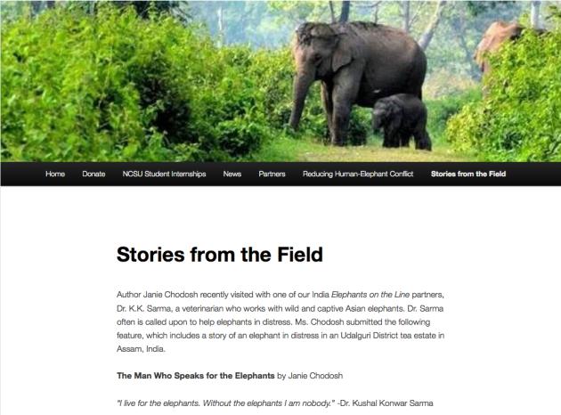 Stories in the Field, Janie Chodosh, Elephant Doctor, Dr. K K Sarma