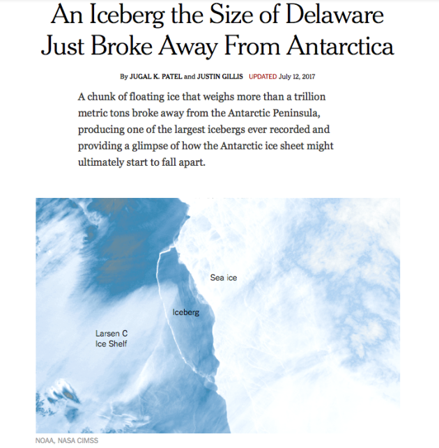Iceberg the size of Delaware, Broke Away, Antarctica