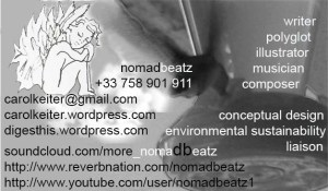 angel card nomadbeatz carol keiter | blogger, liaison, artist, musician, composer