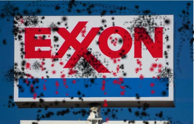 Exxon's denigration of resources and planetary health, oil leaking and spoiling the planet. Exxon has blood on their hands.