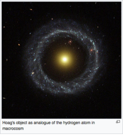Hoag's object - an atypical ring galaxy- as analogue of the hydrogen atom, macrocosm,