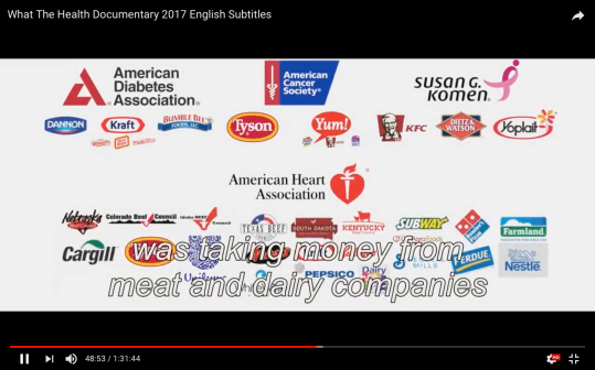 The sponsors of the American Cancer Society, the American Heart Association and the American Diabetes Association are the meat and dairy as well as pharmaceutical industries. Their message promotes misinformation about food and diet, for profit motives rather than finding the cause of the disease and curing it.
