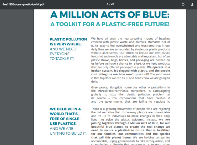 pdf, downloadable file, Ocean Plastic Tool Kit, Million Acts of Blue