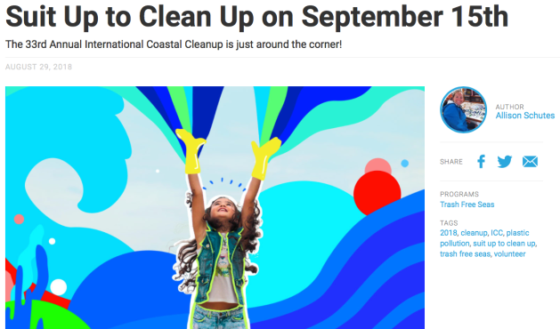 Suit Up To Clean Up,  Saturday September 15th, the International Coastal Cleanup day, water way near you
