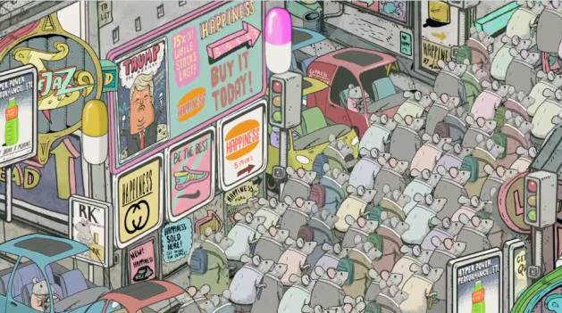 Steve Cutts, short animation,Happiness
