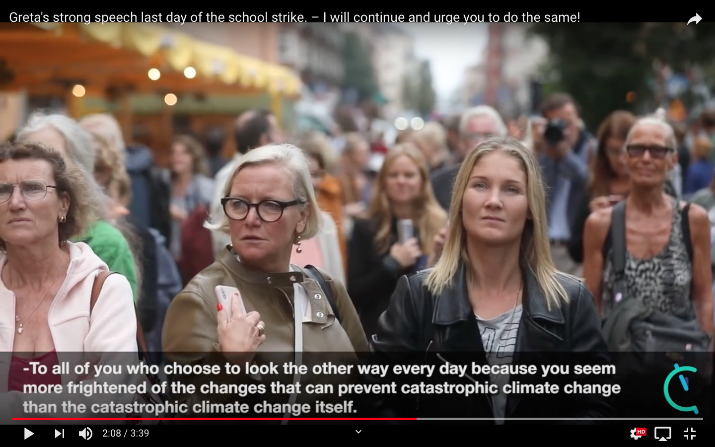 Greta's speech Swedish more frightened to make changes to prevent climate catastrophy
