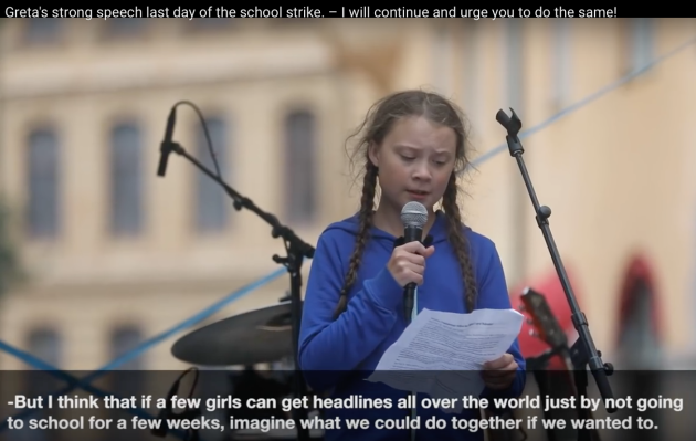 Greta Thunberg, speech Swedish Parliament, Swedish Schoolstrike