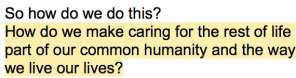 E.O. Wilson, Half-Earth Project, Caring, Common Humanity