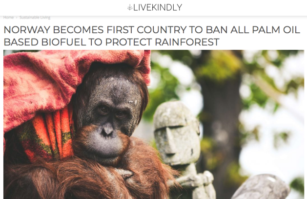 Norway, ban Palm Oil based Biofuel, protect the rainforest