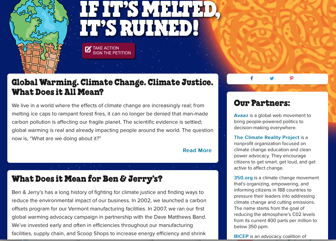 Global Warming, Climate Change, Climate Justice, Ben & Jerry's