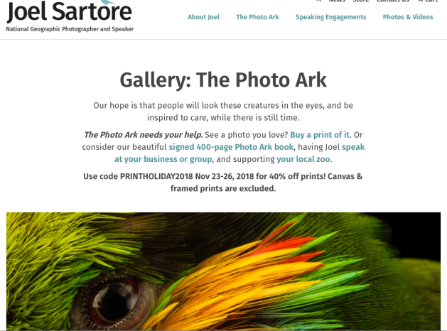 Joel is the founder of the Photo Ark, a groundbreaking effort to document species,