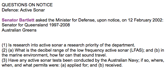 Senator for Queensland to Australia questions regarding Active Sonar
