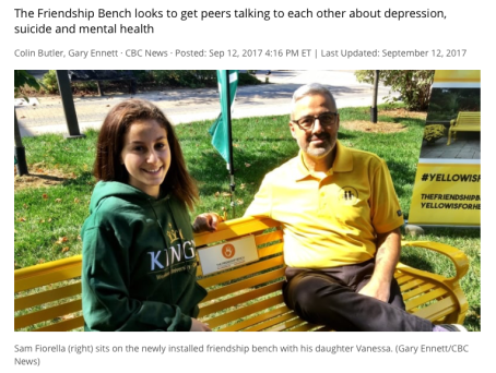 mental illness, friendship bench london for peers to talk to each other about depression