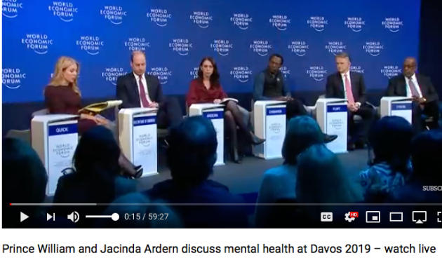 weforum Prince William aka HRH Duke of Cambridge, Prime Minister of New Zealand and Labor Party leader Jacinda Ardern, Dr. Dixon Chibanda of Zimbabwe discuss mental health and friendship bench