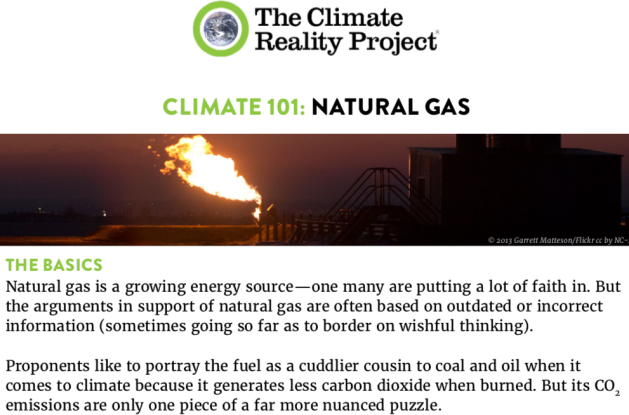 The Climate Reality Project, Climate 101, Natural Gas