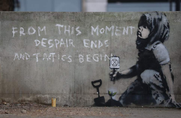 Banksy, XR,  Extinction Rebellion artwork appears at protest, London Marble Arch