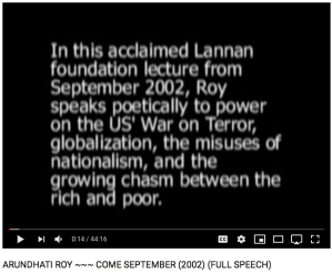 Lannan Foundation, US Globalization Nationalism,  Arundhati Roy, Come September
