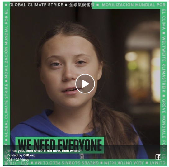 Greta Thunberg, Global Climate Strike Sept 20 2019, we need everyone