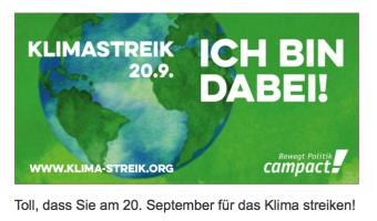 Toll dass Sie um Klimastreik Ich bin dabe September 20