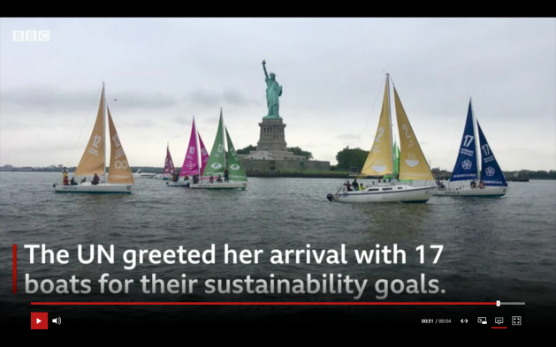 United Nations greeted Greta Thunberg's arrival in New York with 17 boats - their sails describing sustainability goals