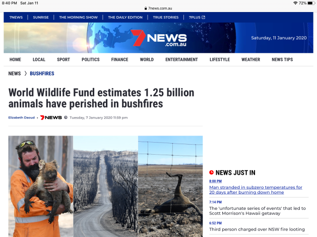 World Wildlife fund 1.25B animals perish AU fires